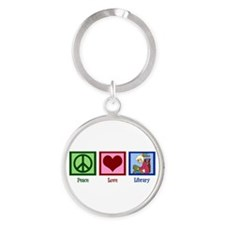 Peace Love Library Round Keychain