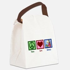 Peace Love Library Canvas Lunch Bag