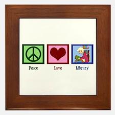 Peace Love Library Framed Tile