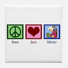 Peace Love Library Tile Coaster