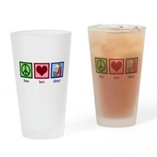 Peace Love Library Drinking Glass