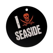 I Jolly Roger Seaside Ornament (Round)