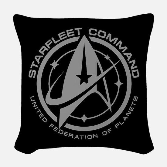 Grey Starfleet Command Emblem Woven Throw Pillow