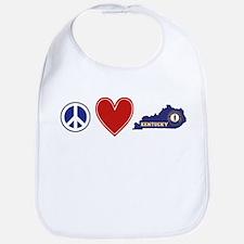 Peace Love Kentucky Bib
