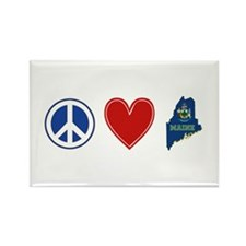 Peace Love Maine Rectangle Magnet