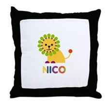 Nico Loves Lions Throw Pillow