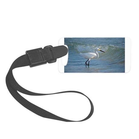 Snowy egret Luggage Tag