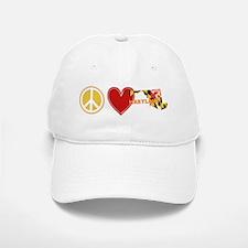 Peace Love Maryland Baseball Baseball Cap