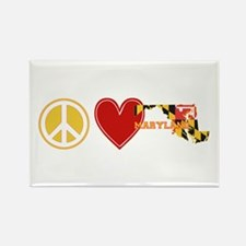 Peace Love Maryland Rectangle Magnet