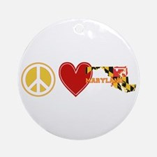 Peace Love Maryland Ornament (Round)
