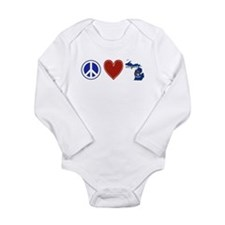Peace Love Michigan Long Sleeve Infant Bodysuit