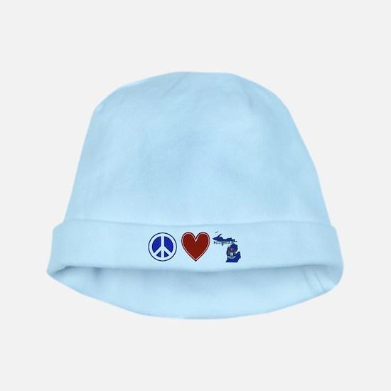 Peace Love Michigan baby hat