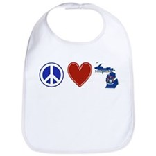 Peace Love Michigan Bib