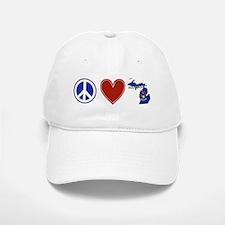 Peace Love Michigan Baseball Baseball Cap