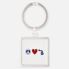 Peace Love Michigan Square Keychain