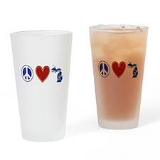 Peace Love Michigan Drinking Glass
