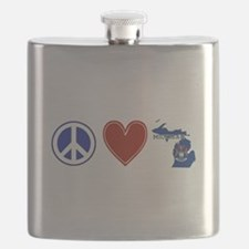 Peace Love Michigan Flask