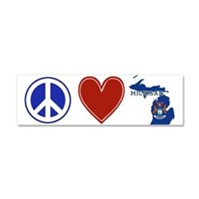Peace Love Michigan Car Magnet 10 x 3