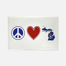 Peace Love Michigan Rectangle Magnet