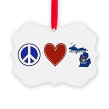 Peace Love Michigan Ornament