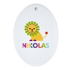 Nikolas Loves Lions Ornament (Oval)