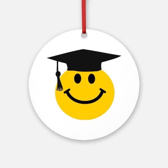 Graduate smiley face Ornament (Round)