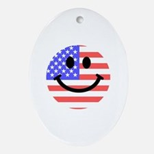 American Flag Smiley Face Ornament (Oval)