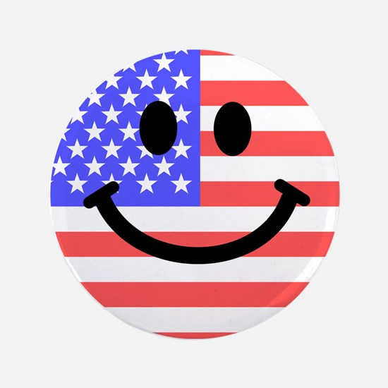 """American Flag Smiley Face 3.5"""" Button"""