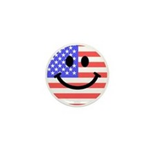 American Flag Smiley Face Mini Button
