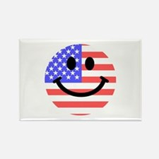 American Flag Smiley Face Rectangle Magnet (100 pa