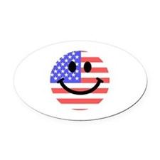 American Flag Smiley Face Oval Car Magnet