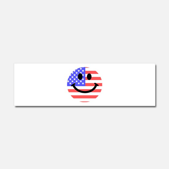 American Flag Smiley Face Car Magnet 10 x 3