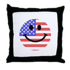American Flag Smiley Face Throw Pillow