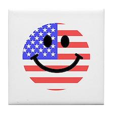 American Flag Smiley Face Tile Coaster