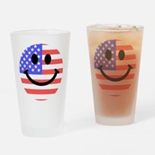 American Flag Smiley Face Drinking Glass