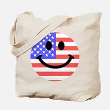 American Flag Smiley Face Tote Bag
