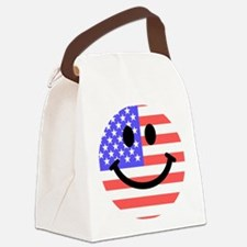 American Flag Smiley Face Canvas Lunch Bag
