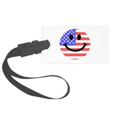 American Flag Smiley Face Luggage Tag