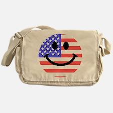 American Flag Smiley Face Messenger Bag