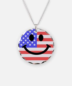American Flag Smiley Face Necklace
