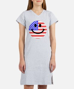 American Flag Smiley Face Women's Nightshirt