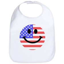 American Flag Smiley Face Bib