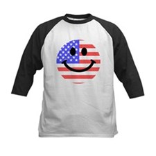 American Flag Smiley Face Baseball Jersey