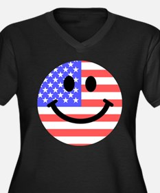 American Flag Smiley Face Plus Size T-Shirt