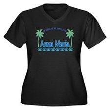 Anna Maria Island-Happy Place Women's Plus Size V-
