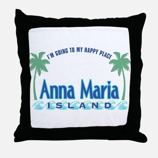 Anna Maria Island-Happy Place Throw Pillow