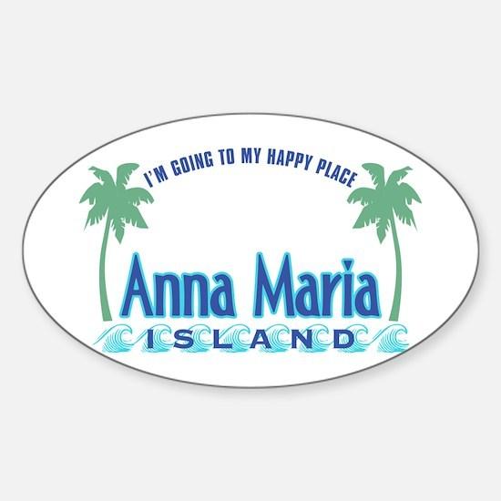 Anna Maria Island-Happy Place Sticker (Oval)