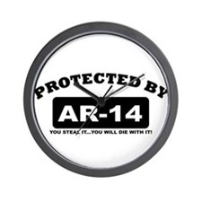 property of protected by ar14 b Wall Clock