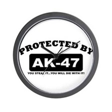 property of protected by ak47 b Wall Clock