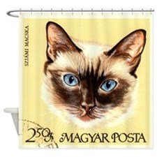 Vintage 1968 Hungary Siamese Cat Postage Stamp Sho